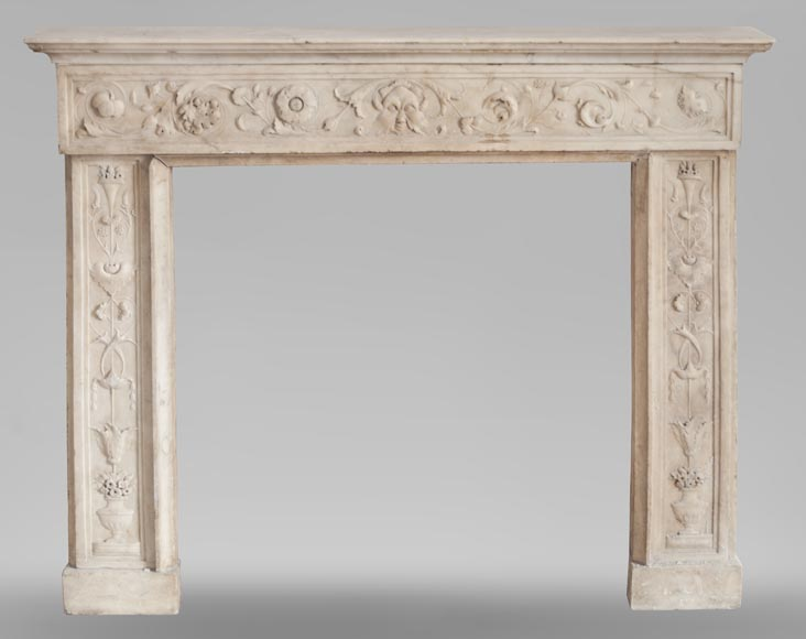 Beautiful Italian fireplace from the 18th century made out of statuary marble-0