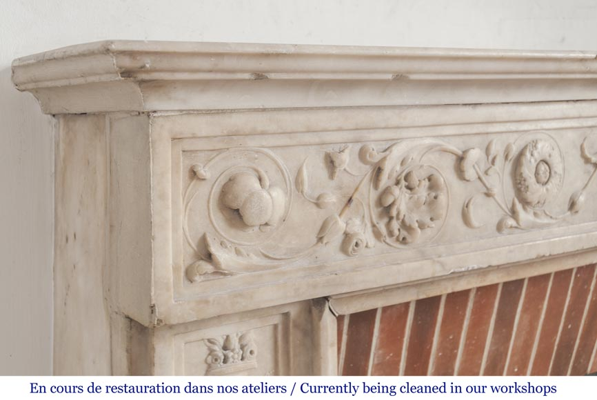 Beautiful Italian fireplace from the 18th century made out of statuary marble-4
