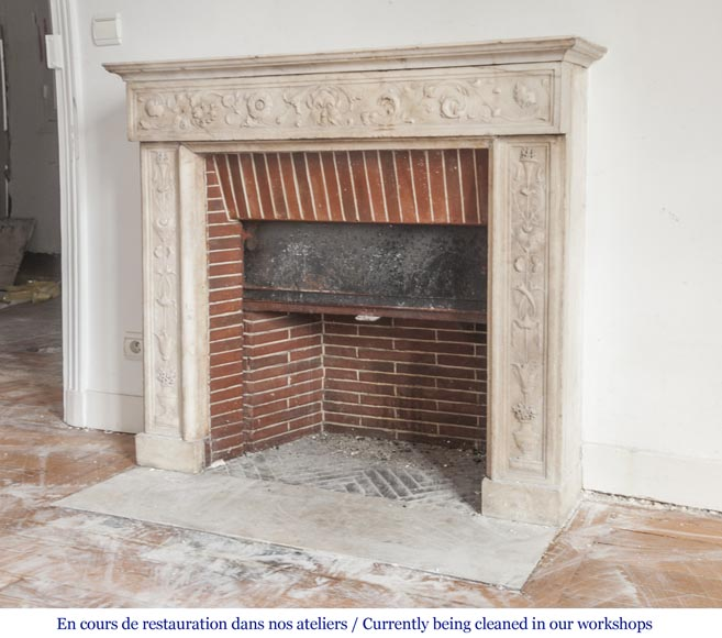 Beautiful Italian fireplace from the 18th century made out of statuary marble-6