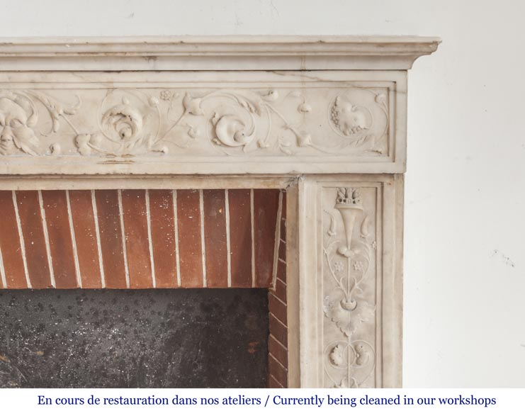 Beautiful Italian fireplace from the 18th century made out of statuary marble-7