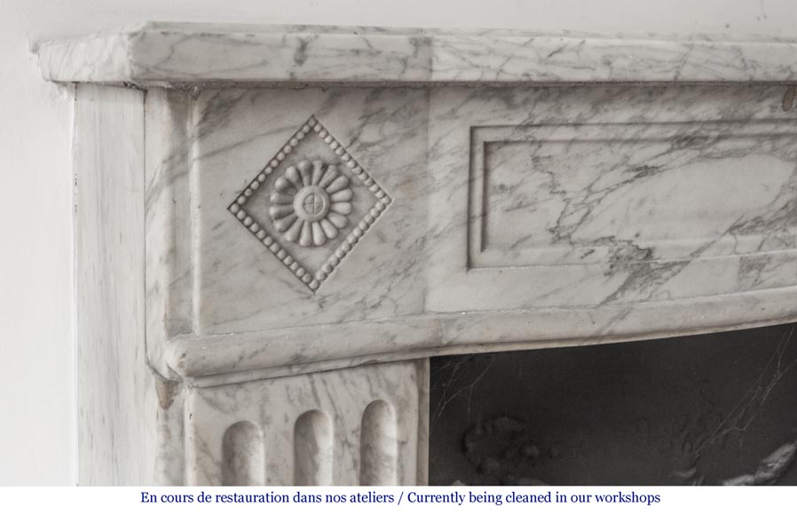 Beautiful antique fireplace from Louis XVI era in Arabescato marble decorated with rosettes and small pearls-3