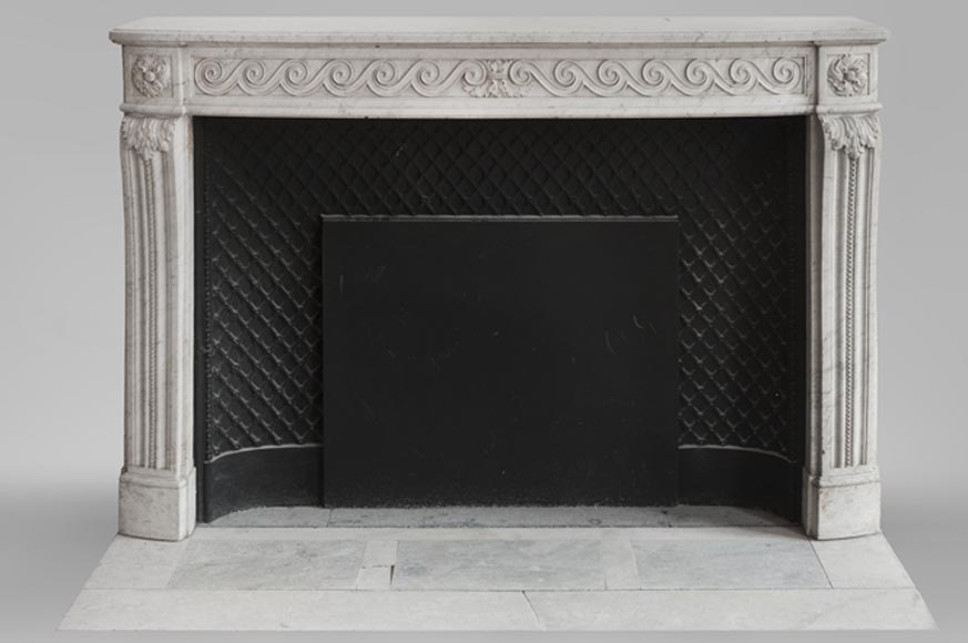 Beautiful Louis XVI fireplace in Carrara Marble with a Greek frieze-0