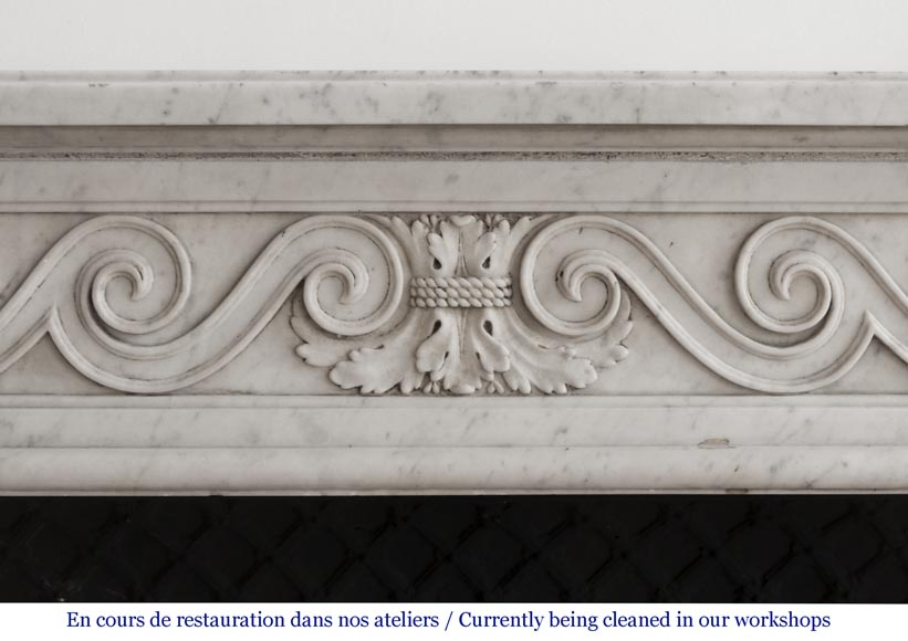 Beautiful Louis XVI fireplace in Carrara Marble with a Greek frieze-1