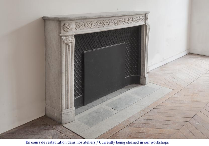 Beautiful Louis XVI fireplace in Carrara Marble with a Greek frieze-3