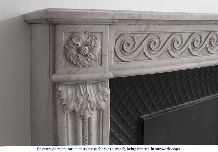 Beautiful Louis XVI fireplace in Carrara Marble with a Greek frieze-4