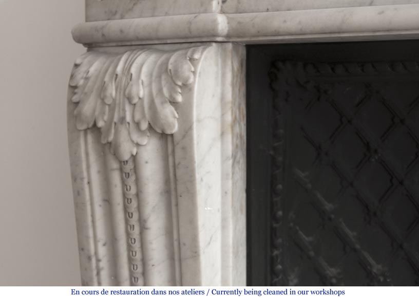 Beautiful Louis XVI fireplace in Carrara Marble with a Greek frieze-5
