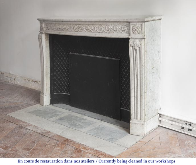 Beautiful Louis XVI fireplace in Carrara Marble with a Greek frieze-7