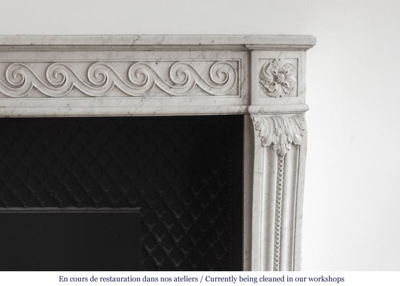 Beautiful Louis XVI fireplace in Carrara Marble with a Greek frieze-8