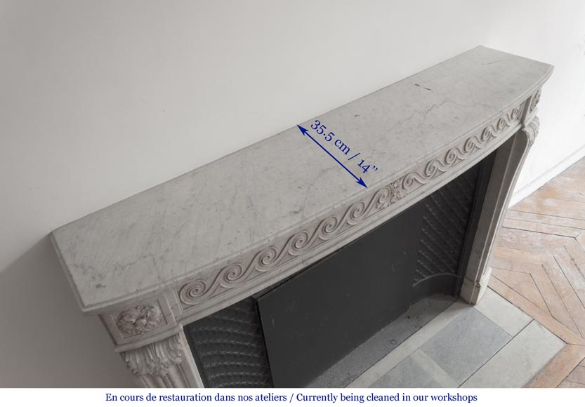 Beautiful Louis XVI fireplace in Carrara Marble with a Greek frieze-11