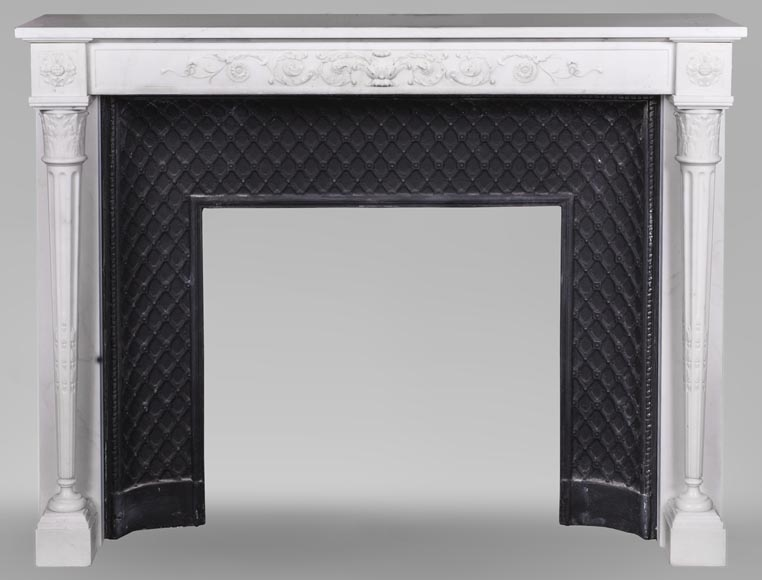 Beautiful antique Louis XVI style fireplace with detached and tapered columns made of Statuary marble - Reference 3658