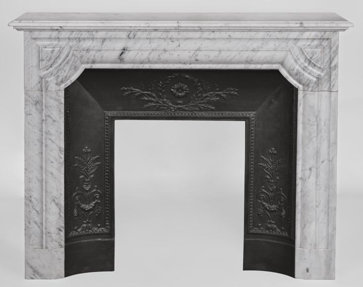 An antique Louis XIV style fireplace made out of Carrara marble-0