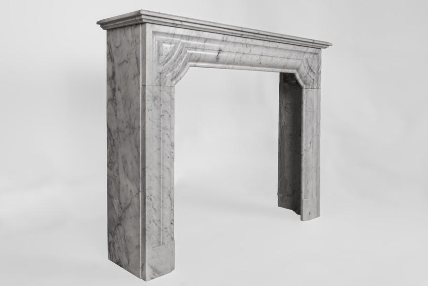 An antique Louis XIV style fireplace made out of Carrara marble-2