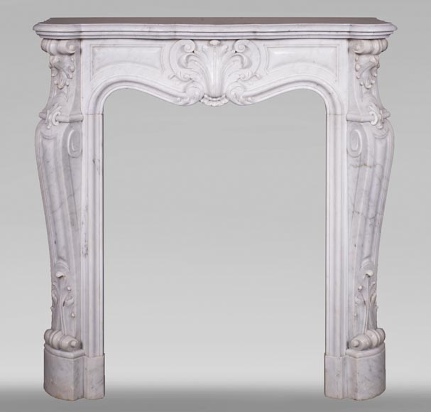 Antique Louis XV style fireplace in Carrara marble-0