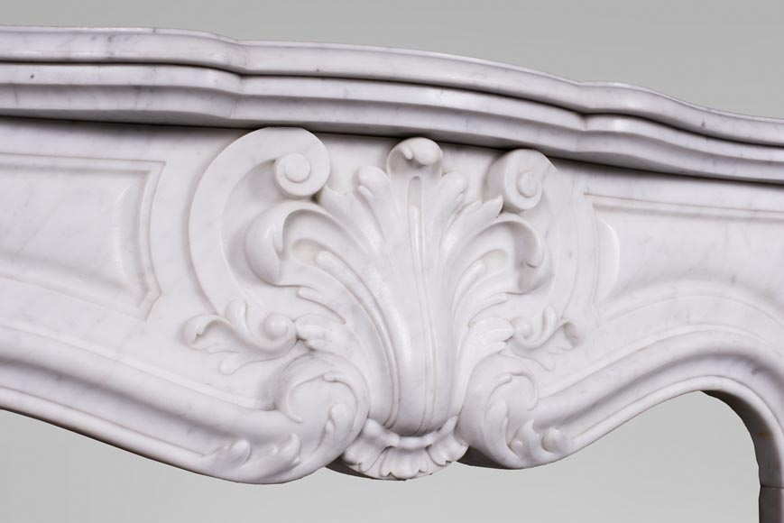 Antique Louis XV style fireplace in Carrara marble-2