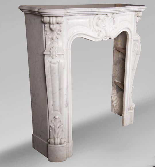 Antique Louis XV style fireplace in Carrara marble-4