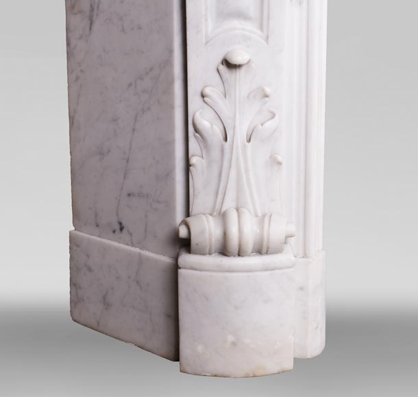 Antique Louis XV style fireplace in Carrara marble-7
