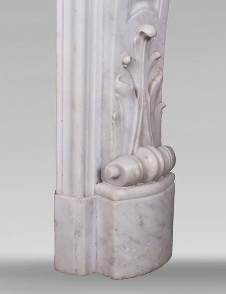 Antique Louis XV style fireplace in Carrara marble-10
