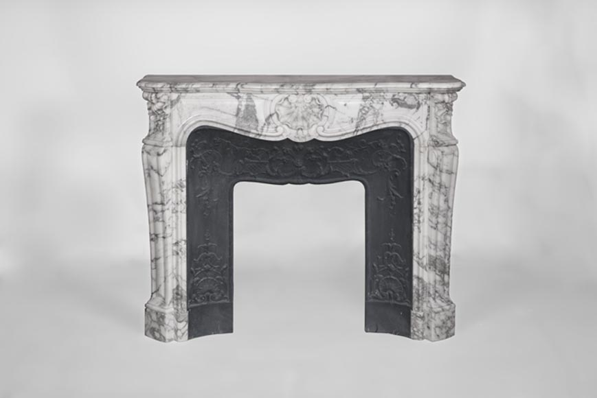 Beautiful Antique Louis Xv Style Fireplace In Arabeo Marble With Three Ss