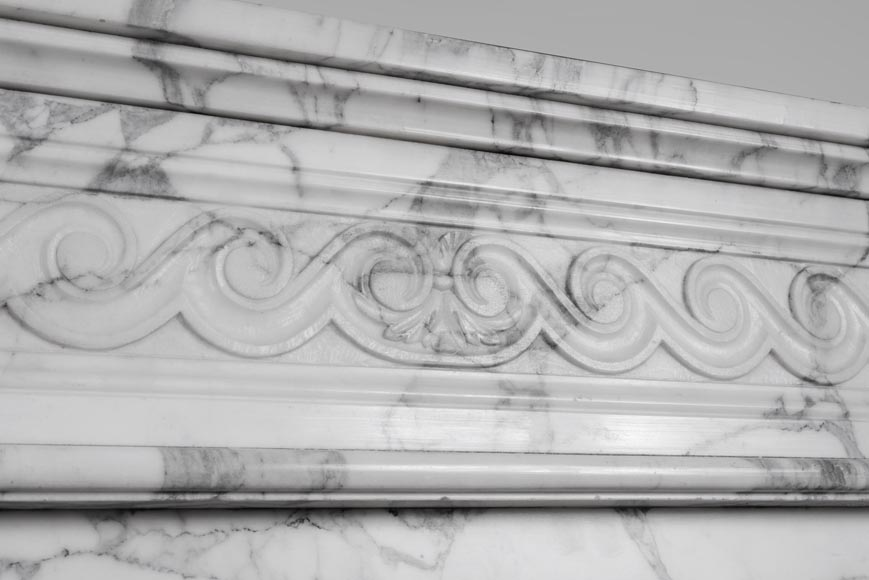 An antique Louis XVI style fireplace with half columns in Arabescato marble-2