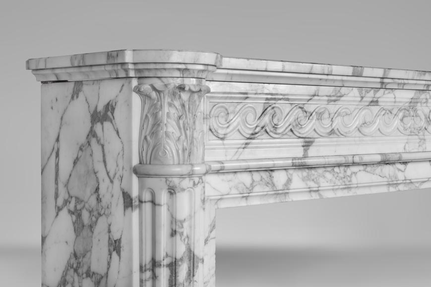 An antique Louis XVI style fireplace with half columns in Arabescato marble-3