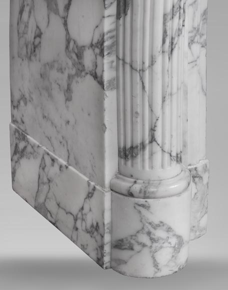 An antique Louis XVI style fireplace with half columns in Arabescato marble-6