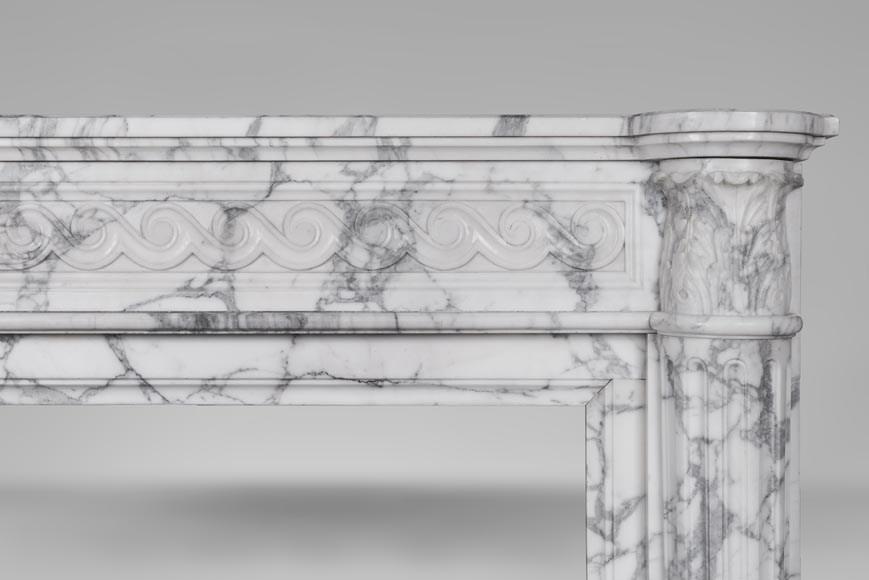 An antique Louis XVI style fireplace with half columns in Arabescato marble-8
