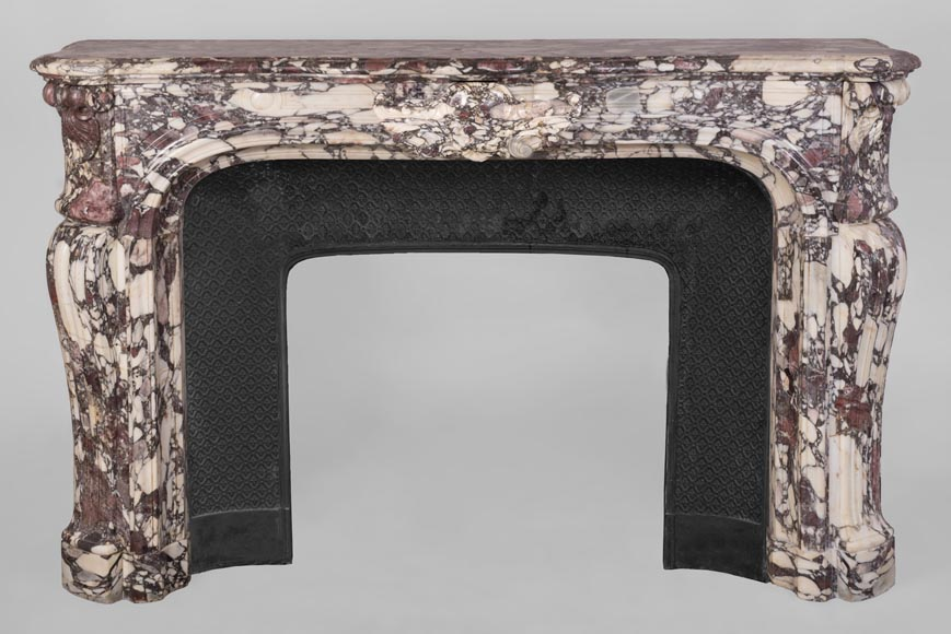 Exceptional Regence style fireplace in Violet Breccia marble decorated with shells-0