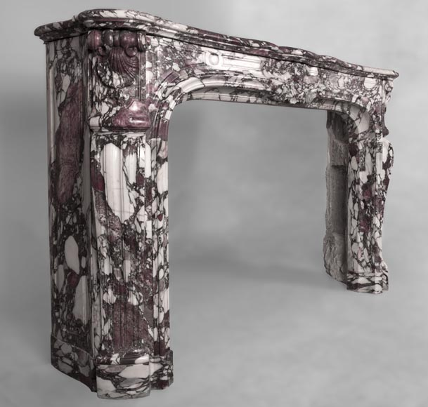 Exceptional Regence style fireplace in Violet Breccia marble decorated with shells-4