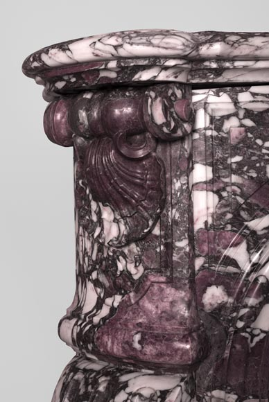 Exceptional Regence style fireplace in Violet Breccia marble decorated with shells-6