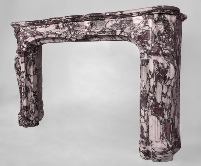Exceptional Regence style fireplace in Violet Breccia marble decorated with shells-8
