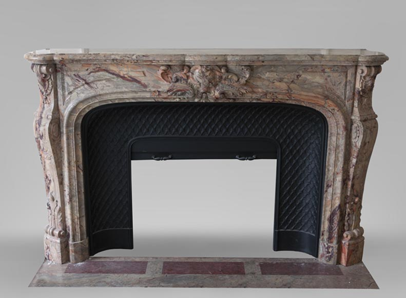 An exceptional Louis XV style fireplace made out of Sarrancolin marble with foliage and shells-0