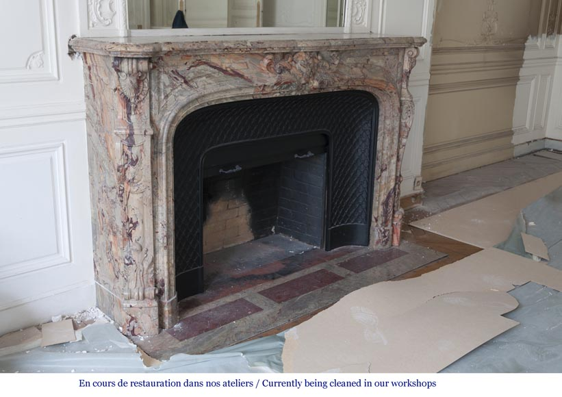An exceptional Louis XV style fireplace made out of Sarrancolin marble with foliage and shells-5