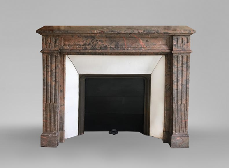 Beautiful antique Louis XVI style fireplace made of Red from the North marble with fluted jambs - Reference 3679