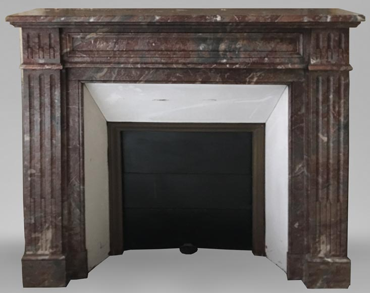 Beautiful antique Louis XVI style fireplace made of Red from the North marble with fluted jambs-0