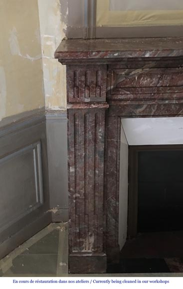 Beautiful antique Louis XVI style fireplace made of Red from the North marble with fluted jambs-1