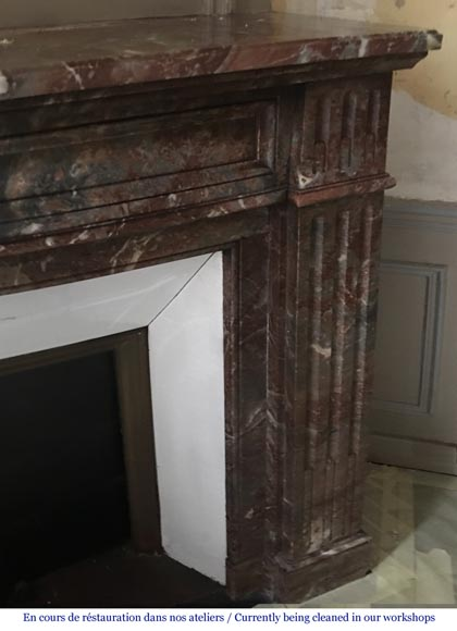 Beautiful antique Louis XVI style fireplace made of Red from the North marble with fluted jambs-2