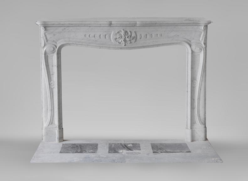 Beautiful antique Art Nouveau and Louis XV styles inspired fireplace made of Carrara marble-0
