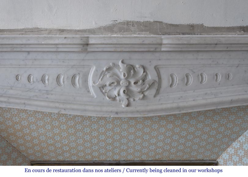 Beautiful antique Art Nouveau and Louis XV styles inspired fireplace made of Carrara marble-1