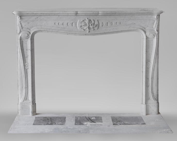 Beautiful antique Louis XV - Regence style inspired fireplace made of Carrara marble-0