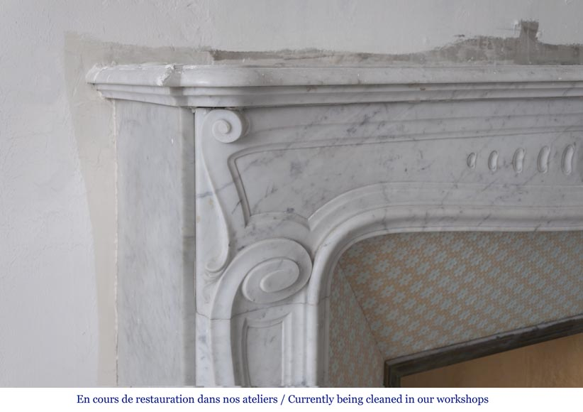 Beautiful antique Louis XV - Regence style inspired fireplace made of Carrara marble-3