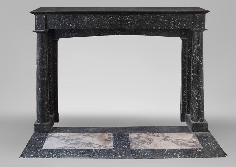 Antique Empire style fireplace made out of Noir moucheté marble with detached columns-0
