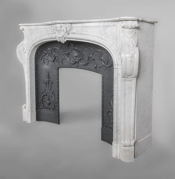 An antique Louis XV style fireplace, made out of Carrara marble, with shell décoration-5