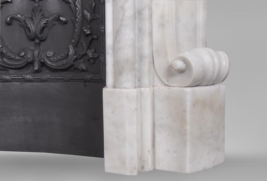 An antique Louis XV style fireplace, made out of Carrara marble, with shell décoration-7