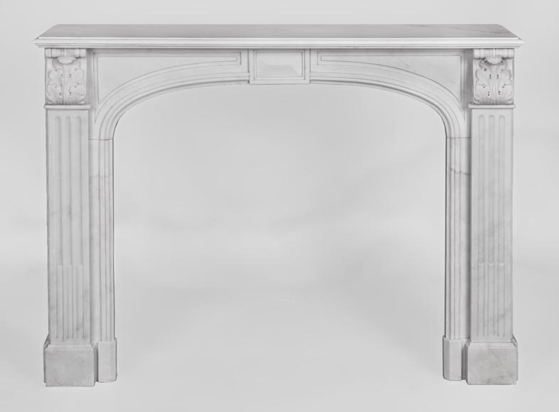 Antique Napoleon III style fireplace made out of Carrara marble with Acanthus leaves and flutes-0