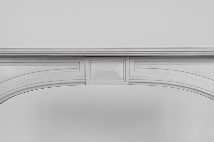 Antique Napoleon III style fireplace made out of Carrara marble with Acanthus leaves and flutes-1