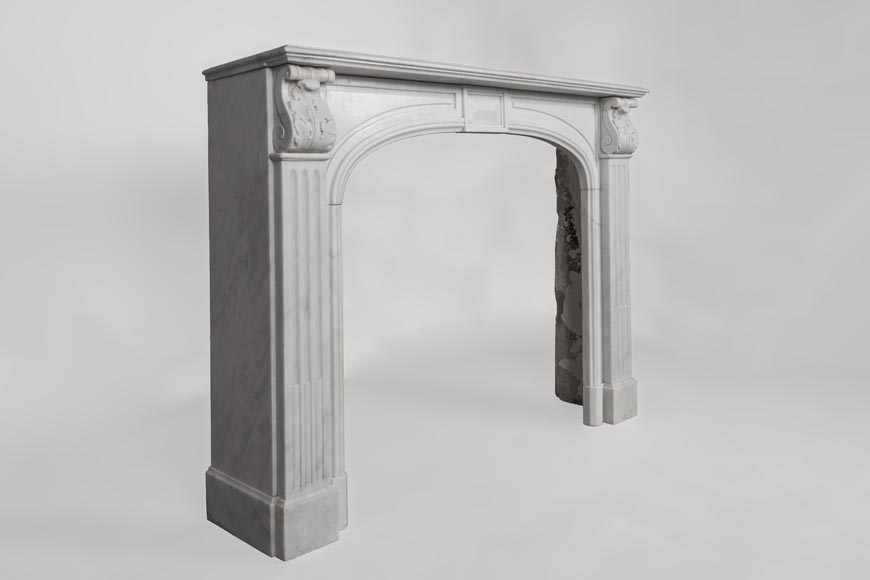 Antique Napoleon III style fireplace made out of Carrara marble with Acanthus leaves and flutes-2