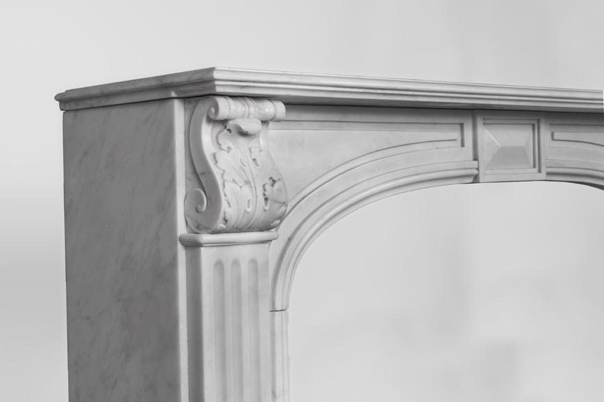 Antique Napoleon III style fireplace made out of Carrara marble with Acanthus leaves and flutes-3