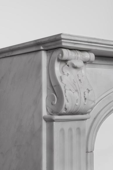 Antique Napoleon III style fireplace made out of Carrara marble with Acanthus leaves and flutes-5