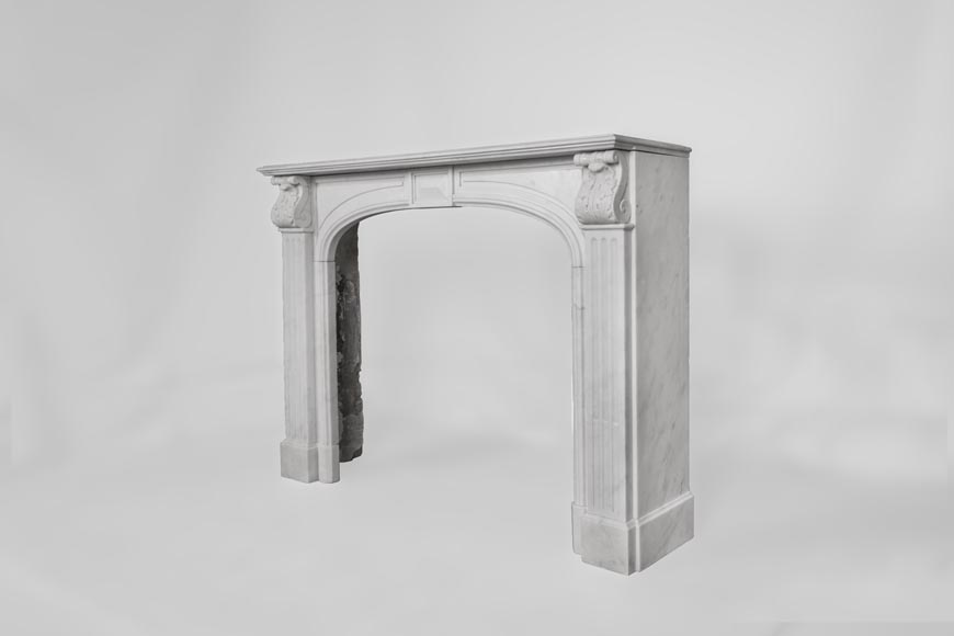 Antique Napoleon III style fireplace made out of Carrara marble with Acanthus leaves and flutes-6