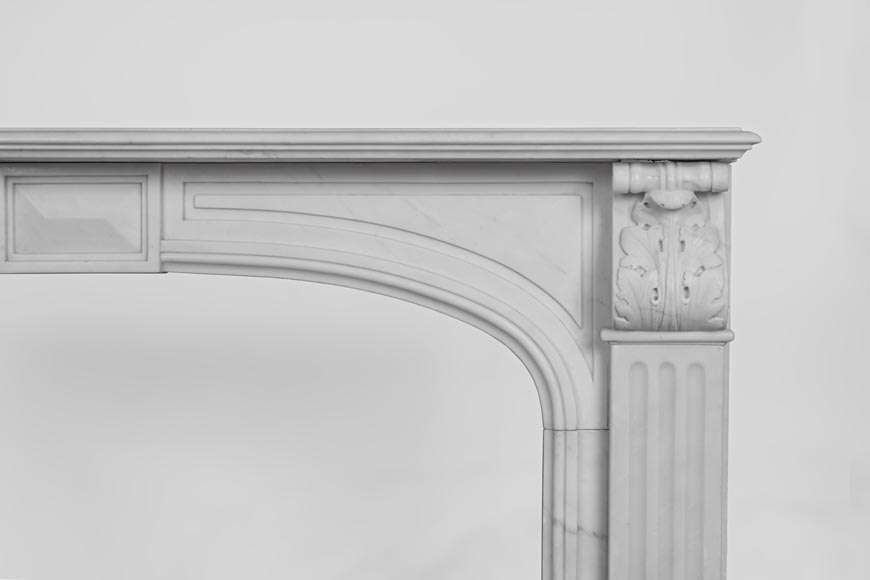 Antique Napoleon III style fireplace made out of Carrara marble with Acanthus leaves and flutes-7